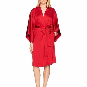 Feathers Satin Silky Belt Robe - Solid Red Small